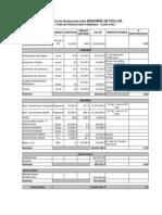 Costos de Produccion Para Engorde de Pollos