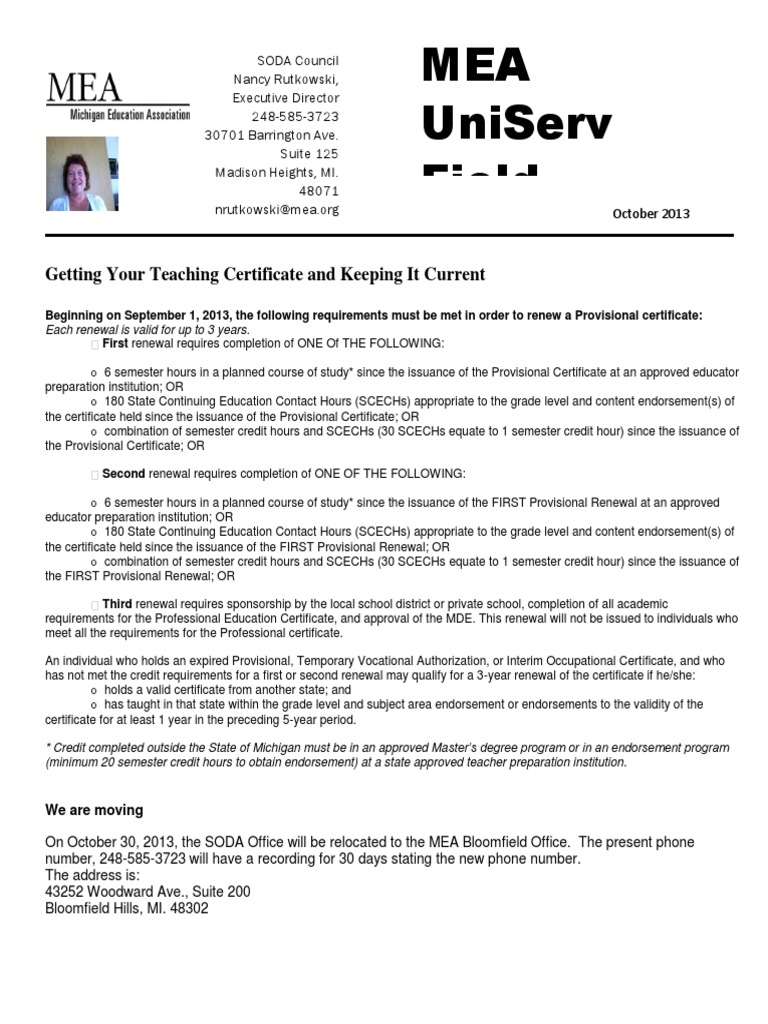 Uniserv News Oct Pic Course Credit Continuing Education