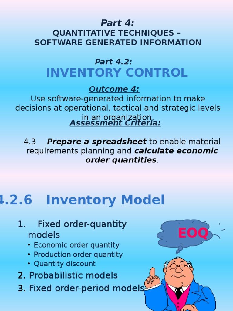 week 13 EOQ | Inventory | Demand