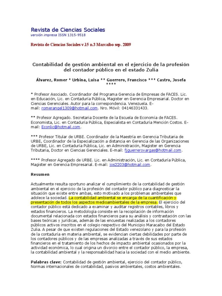 Contabilidad de gestión ambiental en el ejercicio de la profesión ...