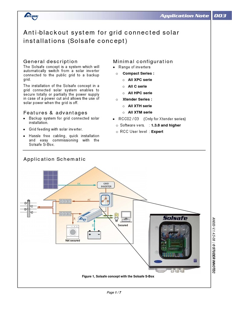 Anti-Blackout System for Grid Connected Solar Installations