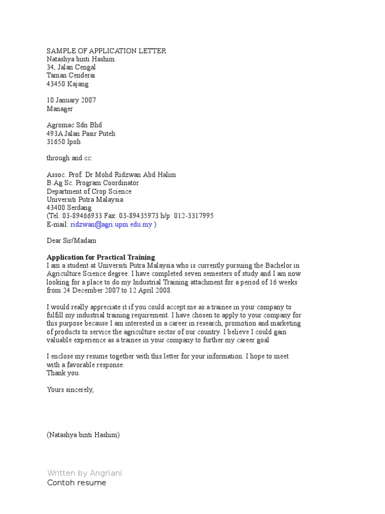 Sample of application letter madrichimfo Images