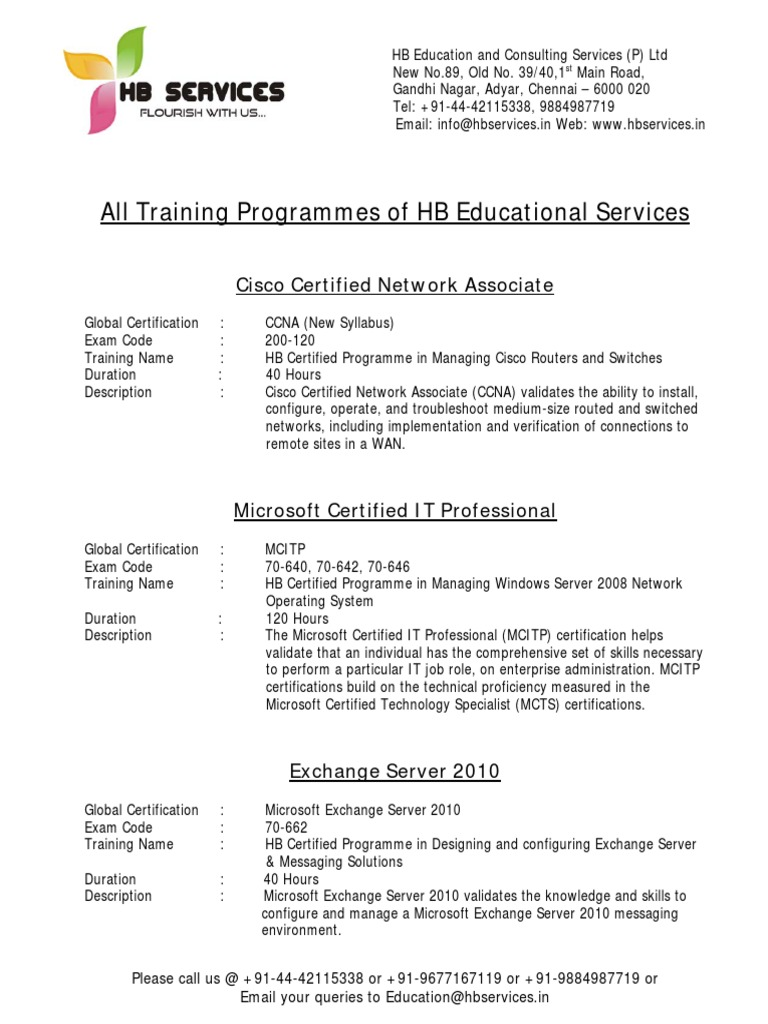 All Training Programmes Of Hb Educational Services Cisco