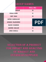 Selection of Product for Import and Analysis of (1) (3) (1)