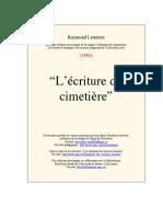 L Ecriture Du Cimetiere