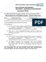 Advertisement of Disability Studies for January 2014 Cycle