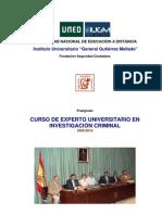 PROGRAMA-GUÍA ILUSTRADO CURSO EXPERTO UNIVERSITARIO INVESTIGACION CRIMINAL. IUGM-UNED 2009-2010