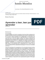 Aprender a Leer, Leer Para Aprender_Chartier