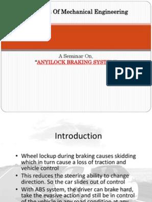 ANYILOCK BRAKING SYSTEM | Anti Lock Braking System | Brake