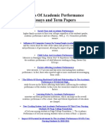 Theories of Academic Performance Essays and Term Papers
