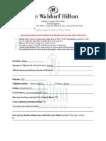 The Waldorf Hilton Employment Form