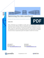 Optimising the data warehouse