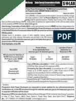 RfS for 750 MW SPV
