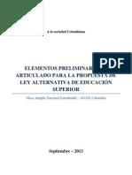 Elementos preliminares de articulado para la propuesta de ley alternativa de educación superior FINAL