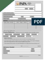 PAPA Admission Form