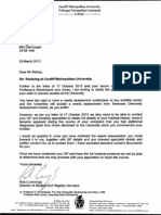Letter from Rob Cummings of Cardiff Metropolitan university (UWIC) requesting medical records