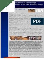 A Propos Du Cancer Du Sein en Afrique Subsaharienne Le Cas Du Togo