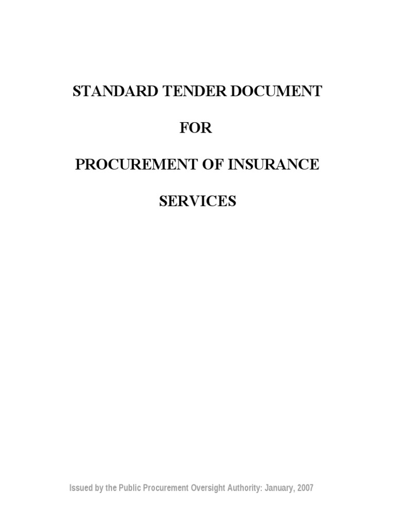 Standard tender document for procurement of insurance services standard tender document for procurement of insurance services insurance bankruptcy stopboris Choice Image