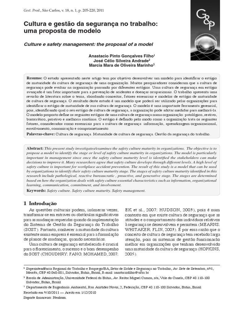 Cultura e gestão da segurança no trabalho c7476fcd49
