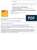 Evaluation of Perforated Plate Solar Air Heater