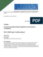 Vietnam Export Certificate Report