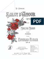 Elgar Salut D'amour Op 12, for Piano in Bflat