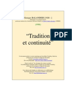 Balandier, Georges -Tradition et continuité