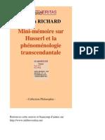 36022-SYLVAIN RICHARD-Mini-Memoire Sur Husserl Et La Phenomenologie Transcendantale-[InLibroVeritas.net]