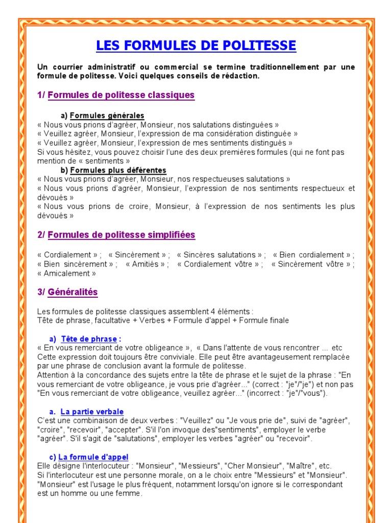 lettre au pr u00e9sident de la r u00e9publique formule de politesse
