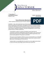 PRESS RELEASE - Turner Denounces Absentee Ballot Bill - 10.11.13