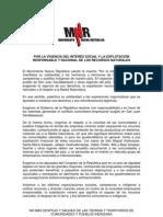 MNR, Apoyo a la marcha social contra la minería