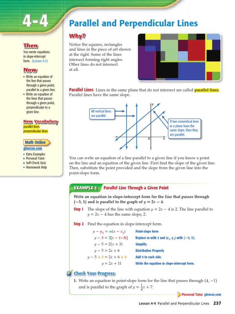 Parallel Perpendicular Alg1 Line Geometry Perpendicular