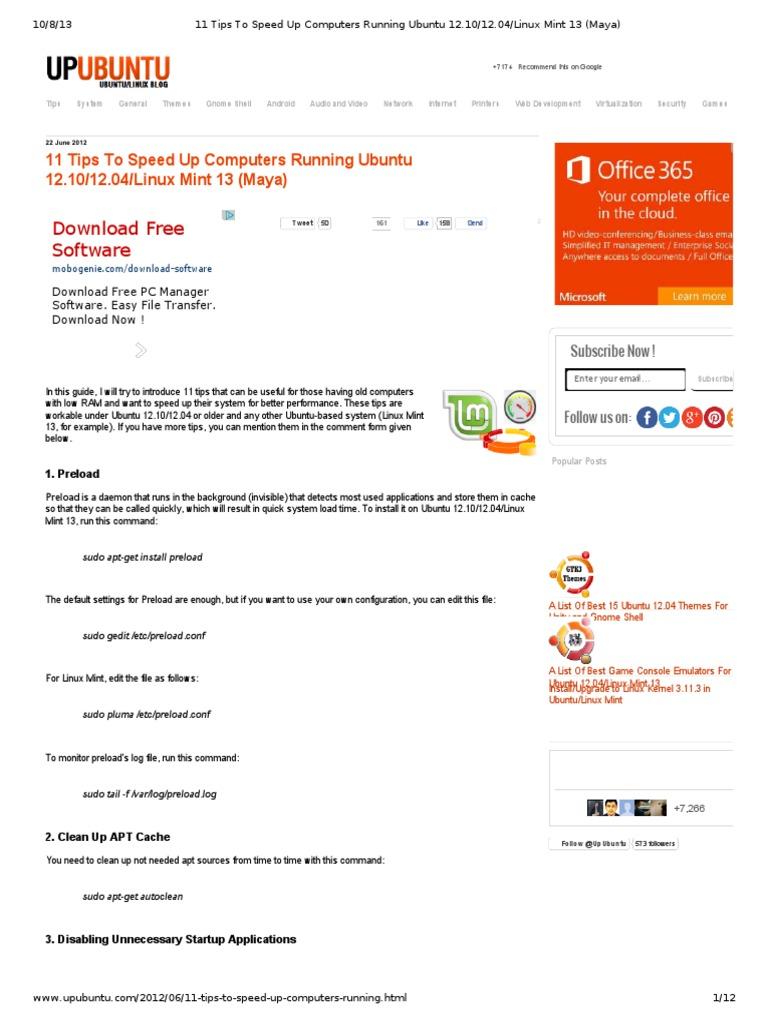 11 Tips to Speed Up Computers Running Ubuntu 12 10_12   Ubuntu