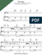 Fix You Piano Music