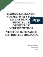 Impozitul Pe Veniturile Obtinute Din Romania de Nerezidenti