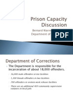 WA-DOC Prison Capacity Presentation by Wash. Secretary of Corrections Bernard Warner - October 10, 2013
