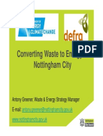 5 Energy From Waste Nottingham 5 October 2010 Antony Greener Converting Waste to Energy in Nottingham City