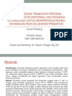 Analisa Serum Trimester Pertama, Karakterisktik Maternal Dan