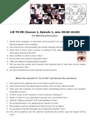 lie-to-me english worksheet | Body Language | Facial Expression