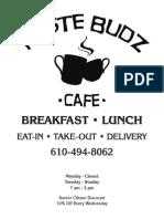 Taste Budz Cafe Menu