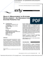 Quality Management in Systems Development