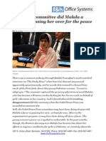 The Nobel committee did Malala a favor in passing her over for the peace prize