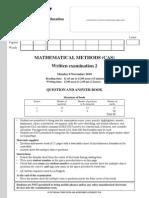2010 Mathematical Methods (CAS) Exam 2