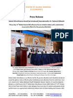 Press Release Islamic Microfinance should be Introduced Internationally