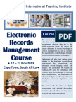 Course Outline - Ellectronic Records Management Course Nov - 2013 Cape Town South Africa