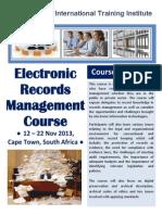 Course Outline - Ellectronic Records Management Course Nov - 2013 Cape Town South Africa