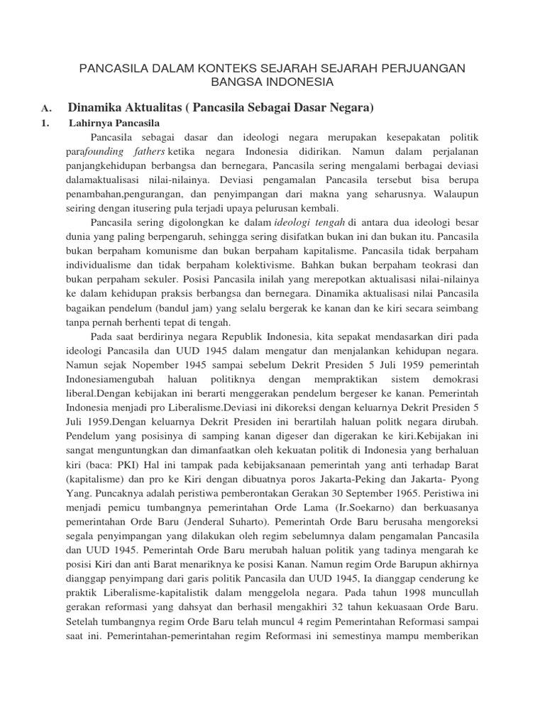 Pancasila Dalam Konteks Sejarah Sejarah Perjuangan Bangsa Indonesia