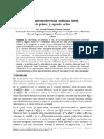 LA ECUACIÓN DIFERENCIAL ORDINARIA LINEAL DE PRIMER Y SEGUNDO ORDEN