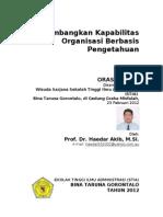 Orasi Ilmiah Membangun Kapabilitas Organisasi Berbasis Pengetahuan