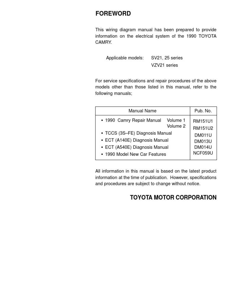 3sfe Wiring Diagram 1991 Gmc Sierra Engine Detailedtoyota Camry 87 91 Electrical 3s Fe
